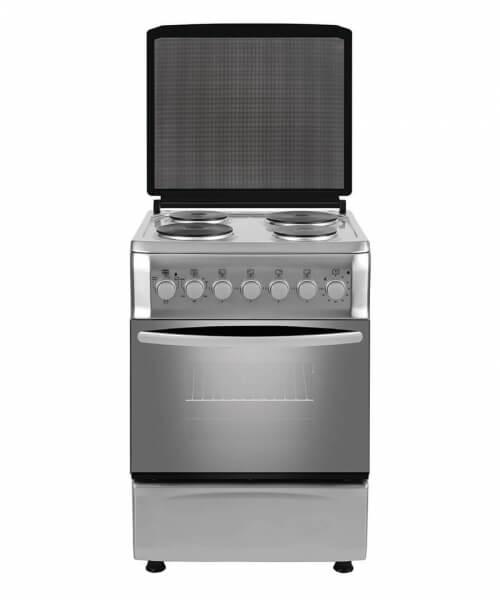 COCINA ELECTRICA CEF5 50 cms,. 4 placas eléctricas, luz de horno, timer,  termostato, grill en horno, puerta doble vidrio, calienta platos, acero inoxidable