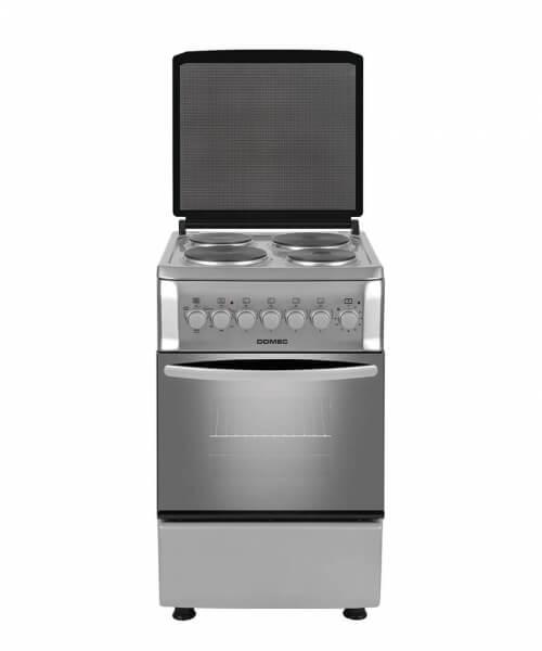 COCINA ELECTRICA CEF6 57 cms,. 4 placas eléctricas, luz de horno, timer, termostato, grill en horno, puerta doble vidrio, calienta platos, acero inoxidable, tapa cristal