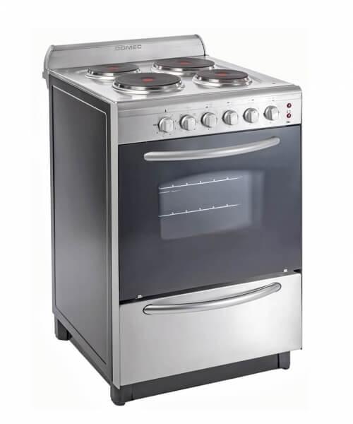 COCINA ELECTRICA CEXU 56 cms, 4 placas de cocción,  parrilla,termostato, luz, acero inoxidable