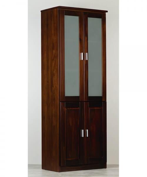 Vitrina Montecatini con estantes, dos puertas con tablero y dos puertas con vidrio esmerilado. Medidas: 1,90m alto x 0,70m ancho x 0,47m prof.