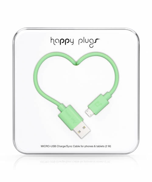 Happy Plugs Micro-USB to USB Charge/Sync Cable (2.0m) - Mint
