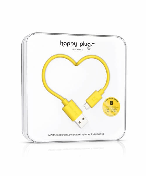 Happy Plugs Micro-USB to USB Charge/Sync Cable (2.0m) - Yellow
