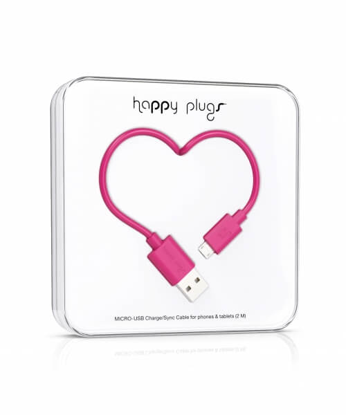 Happy Plugs Micro-USB to USB Charge/Sync Cable (2.0m) - Cerise