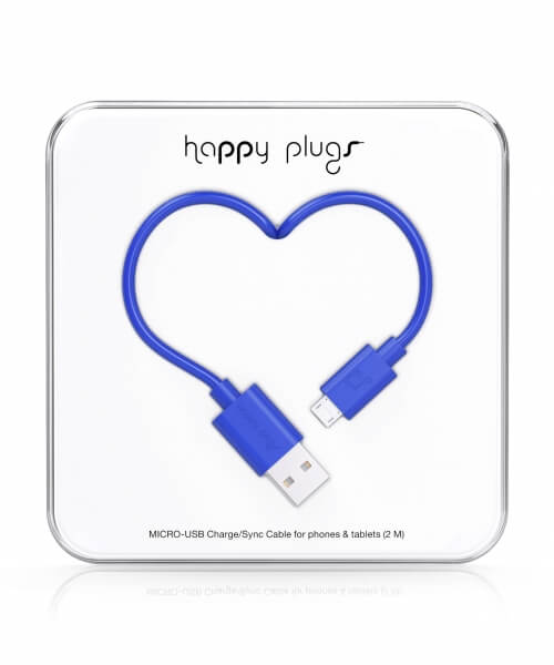 Happy Plugs Micro-USB to USB Charge/Sync Cable (2.0m) - Cobalt