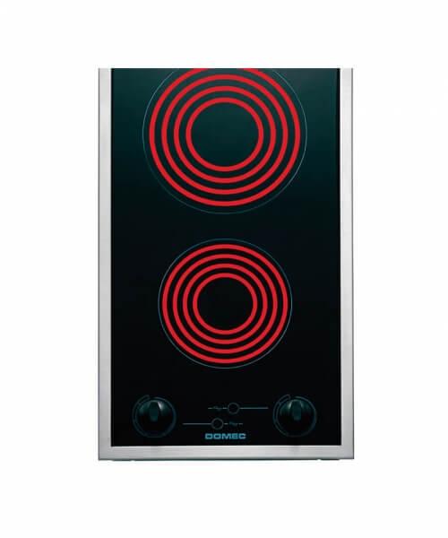 ANAFE ELECTRICO GC30 Vitrocerámico, 29 cms, 2 puntos de cocción, 7 niveles, luz piloto, con marco de acero inoxidable